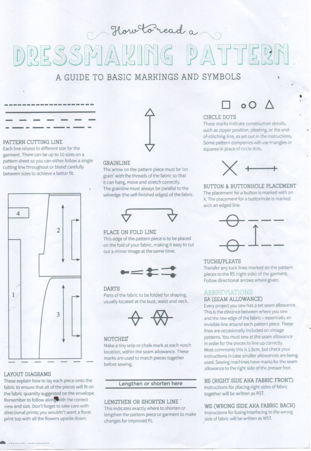 how to reaad a dressmaking pattern