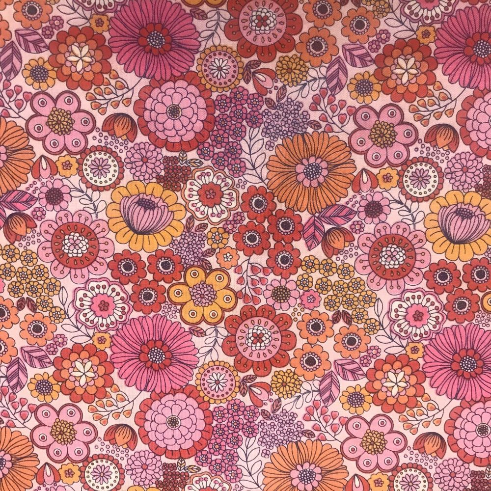 Flower Child -Pink 100% cotton