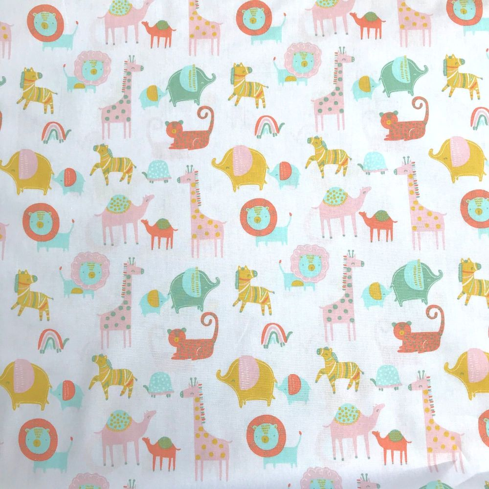 Organic Cotton - Safari Friends White