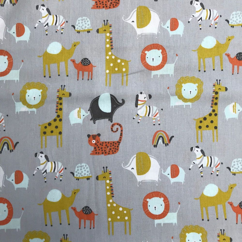 Organic Cotton - Safari Friends Grey