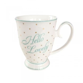 Hello Lovely Mug with Polka Dots Gold and Mint