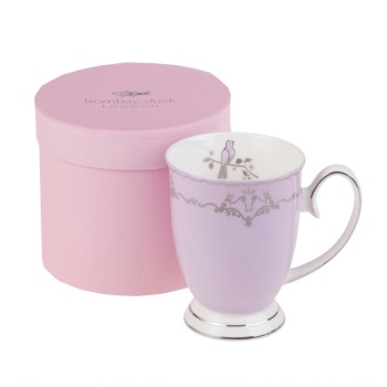 Miss Darcy Bird Mug Lavender and Silver