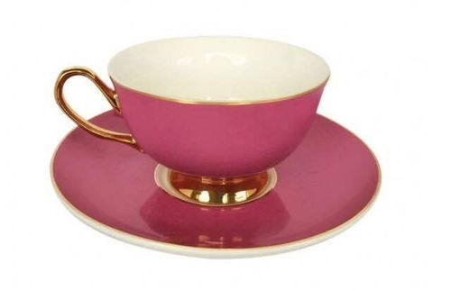 Pretty in Pink teacup and saucer