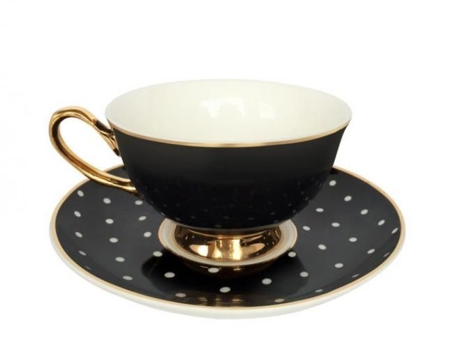 Spotty Black and White teacup and saucer