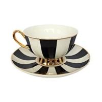 MONTO CARLO STRIPY BLACK & WHITE TEA CUP & SAUCER - VIX906B