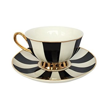 Stripy Black and White teacup and saucer