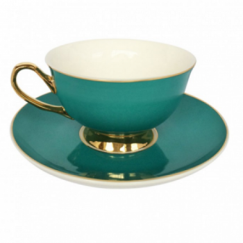 Teal teacup and saucer