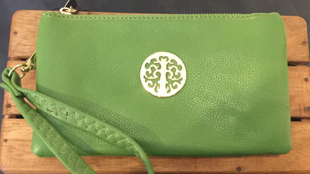 Tree of life clutch bag - green