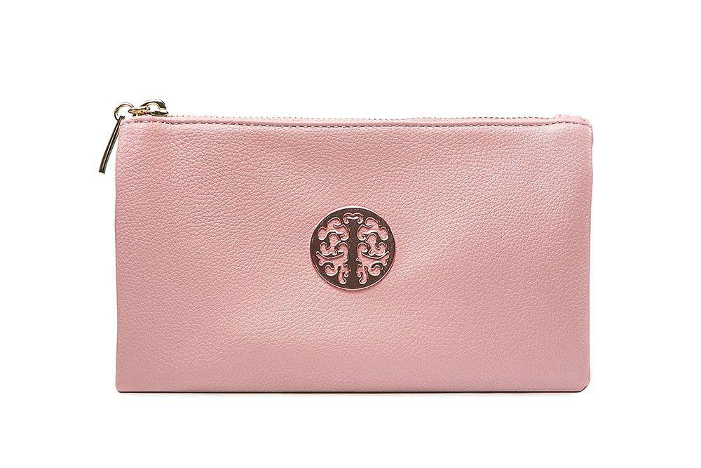 Tree of life clutch bag - shiny pink (metallic baby pink)