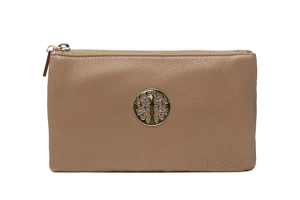 Tree of life clutch bag - beige brown