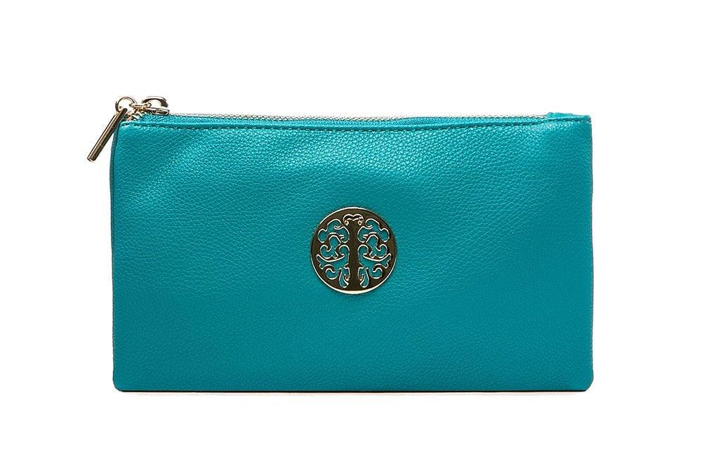 Tree of life clutch bag - greeny blue