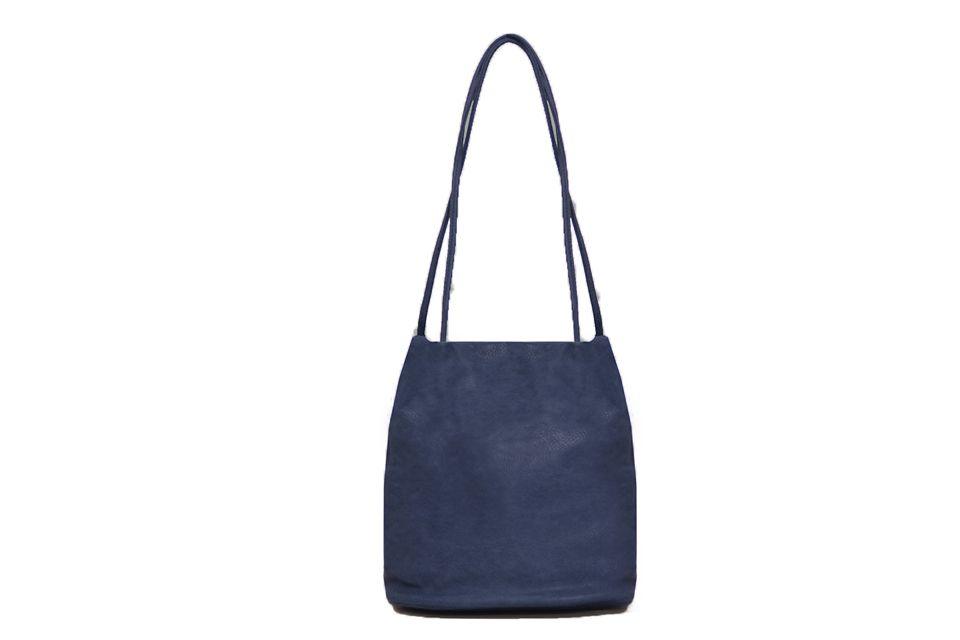 Shoulder bag with two straps - navy blue