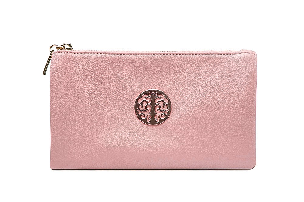Tree of life clutch bag - pale pink