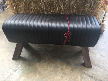 Large leather bench - Black