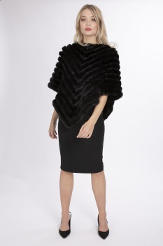FAUX FUR PONCHO - BLACK
