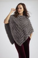 CASHMERE BLEND FAUX FUR PONCHO - DARK GREY
