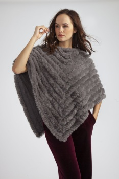 FAUX FUR PONCHO - DARK GREY