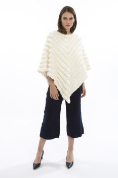 FAUX FUR PONCHO - CREAM