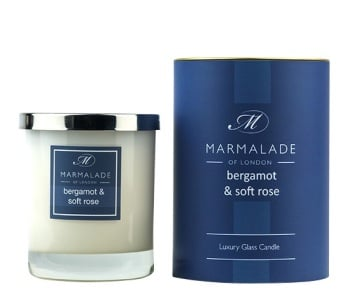 BERGAMOT & SOFT ROSE LARGE GLASS CANDLE