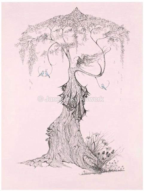 BLUEBIRD TREE A4 - MOUNTED GICLEE PRINT