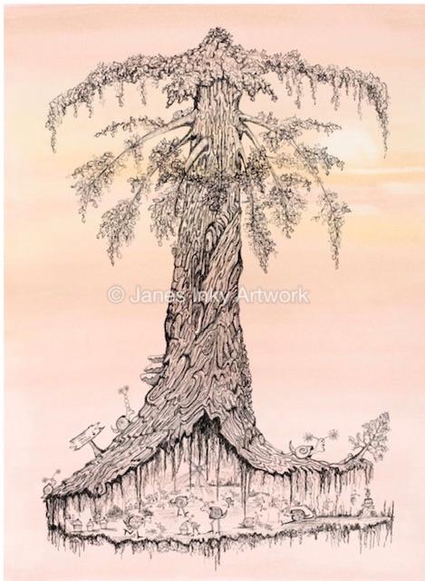 SLIME TREE DISCO A4 - MOUNTED GICLEE PRINT