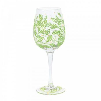 SPRING LEAVES WINE GLASS (BOXED)