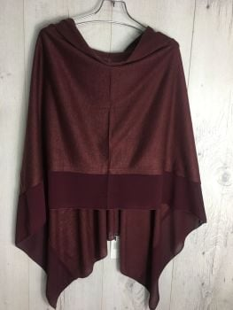 LIGHTWEIGHT PONCHO BURGUNDY
