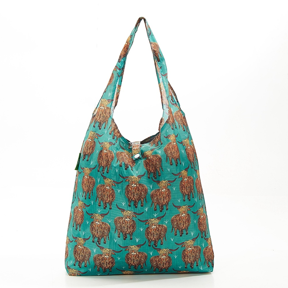 FOLDAWAY SHOPPER - A26 TEAL HIGHLAND COW