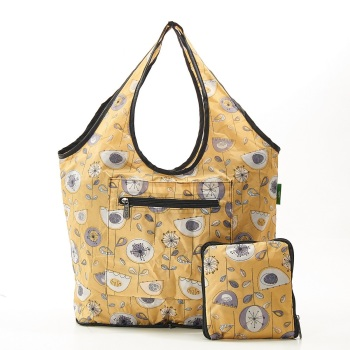 FOLDABLE WEEKEND BAG - F09 MUSTARD 1950s FLOWERS