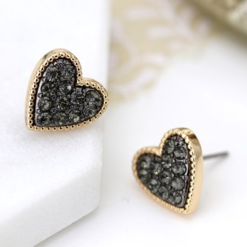 EARRINGS - BLACK CRYSTAL HEART STUD (03220)