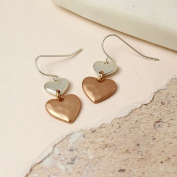 EARRINGS - DOUBLE DROP, TWO TONE (02489)