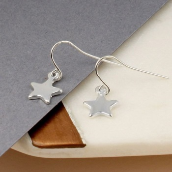 EARRINGS - SILVER PLATED STARS (01882)
