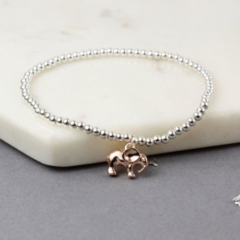 BRACELET - ROSE GOLD ELEPHANT ON SILVER BALL BEAD (01951)
