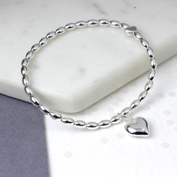 BRACELET - BEAD HEART  WITH CHARM (01152)