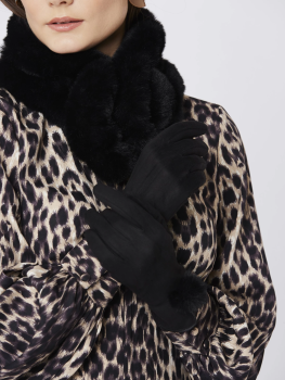 FAUX SUEDE FAUX FUR GLOVES - BLACK