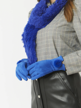 FAUX SUEDE FAUX FUR GLOVES - BLUE
