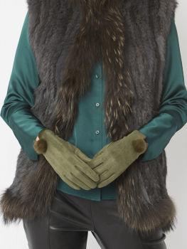 FAUX SUEDE FAUX FUR GLOVES - GREEN