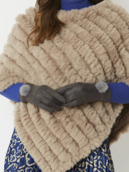 FAUX SUEDE FAUX FUR GLOVES - GREY