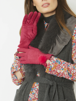 FAUX SUEDE FAUX FUR GLOVES - PINK BRIGHT