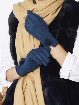 FAUX SUEDE FAUX FUR GLOVES - NAVY