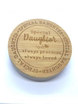 CANDLE & LID - SPECIAL DAUGHTER - ALWAYS PRECIOUS ALWAYS LOVED