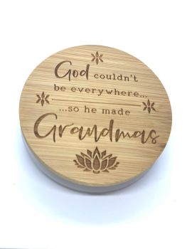 CANDLE & LID - GOD COULDN'T BE EVERYWHERE SO HE MADE GRANDMAS