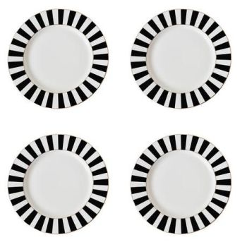 MONTE CARLO STRIPY TEA PLATES Black/White Set of 4