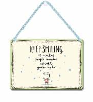 HANGING TIN PLAQUE - KEEP SMILING PA097