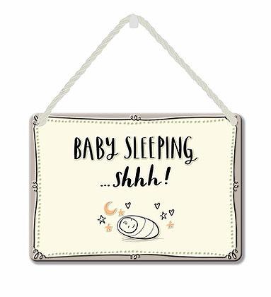 HANGING TIN PLAQUE - SHHH BABY SLEEPING PA095