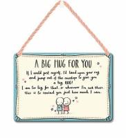 HANGING TIN PLAQUE - A BIG HUG FOR YOU PA083