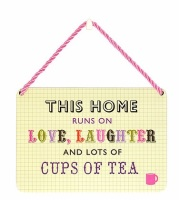 HANGING TIN PLAQUE - THIS HOME RUNS ON LAUGHTER PA035