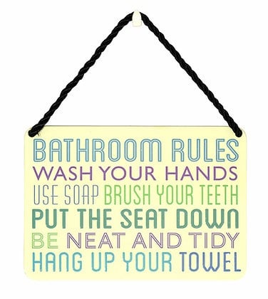 HANGING TIN PLAQUE - BATHROOM RULE  PA028