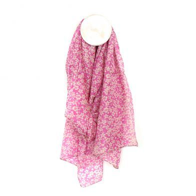 100% SILK SCARF PINK WITH WHITE FLORAL PRINT (51423)