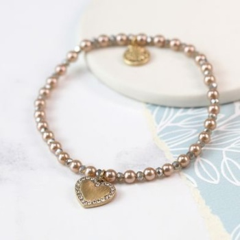 BRACELET - PINK PEARL AND BEAD BRACELET WITH GOLDEN CRYSTAL HEART 03167